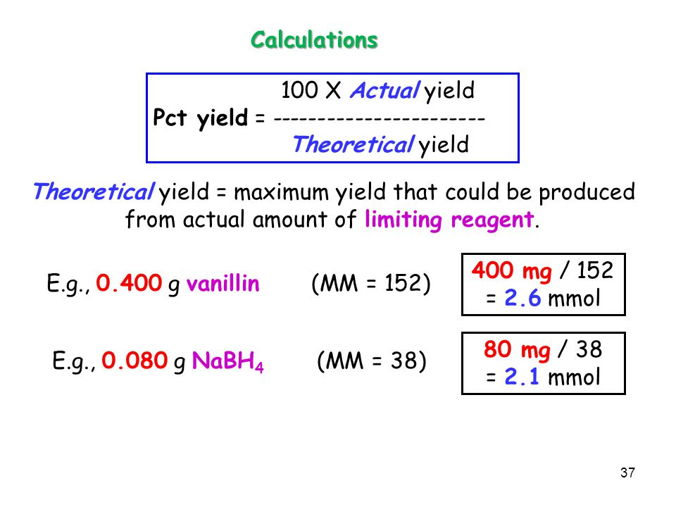 Calculations 100 X Actual yield. Pct yield = ----------------------- Theoretical yield.