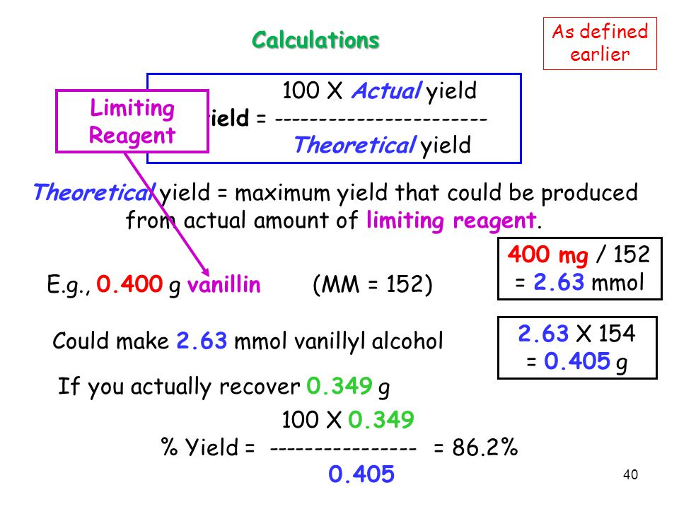 Calculations Limiting Reagent