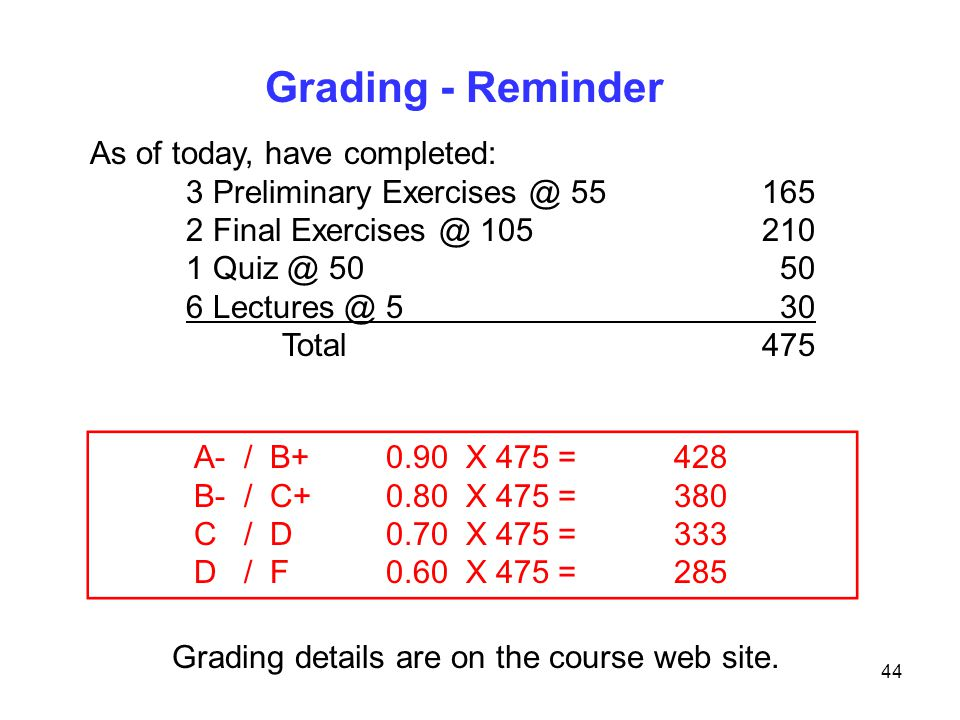 Grading details are on the course web site.