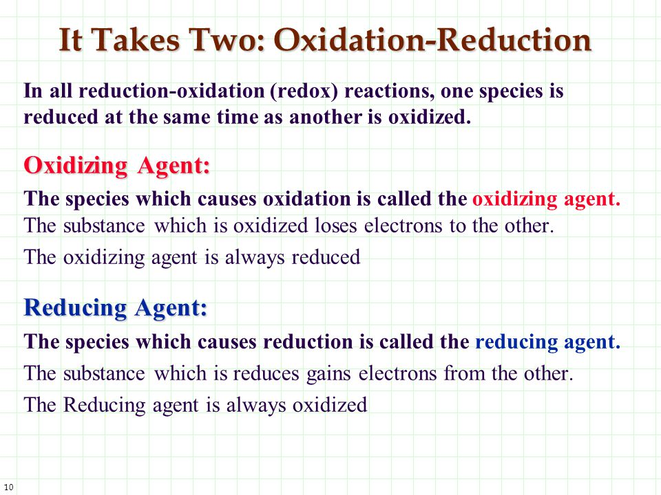 It Takes Two: Oxidation-Reduction