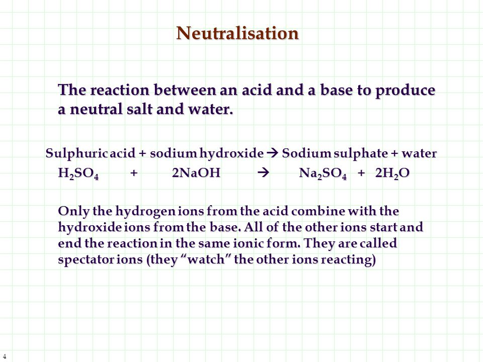 Neutralisation The reaction between an acid and a base to produce a neutral salt and water.