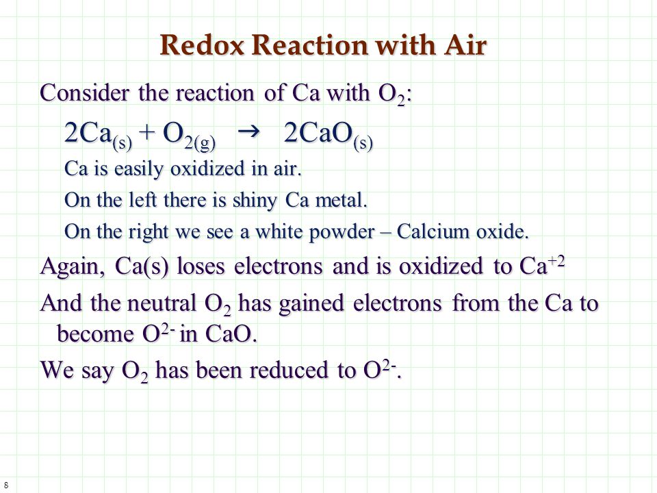 Redox Reaction with Air