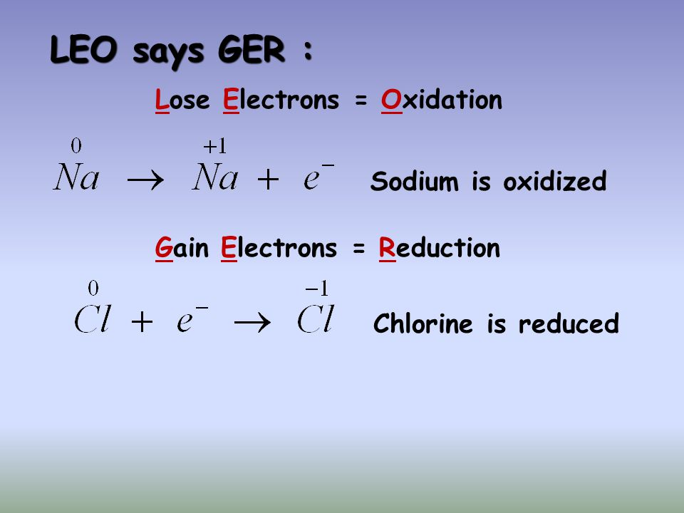 LEO says GER : Lose Electrons = Oxidation. Sodium is oxidized.