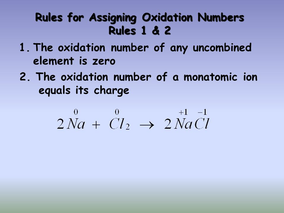 Rules for Assigning Oxidation Numbers Rules 1 & 2