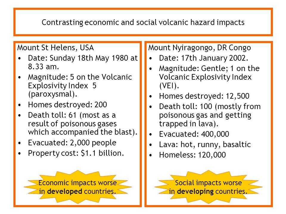 Contrasting economic and social volcanic hazard impacts