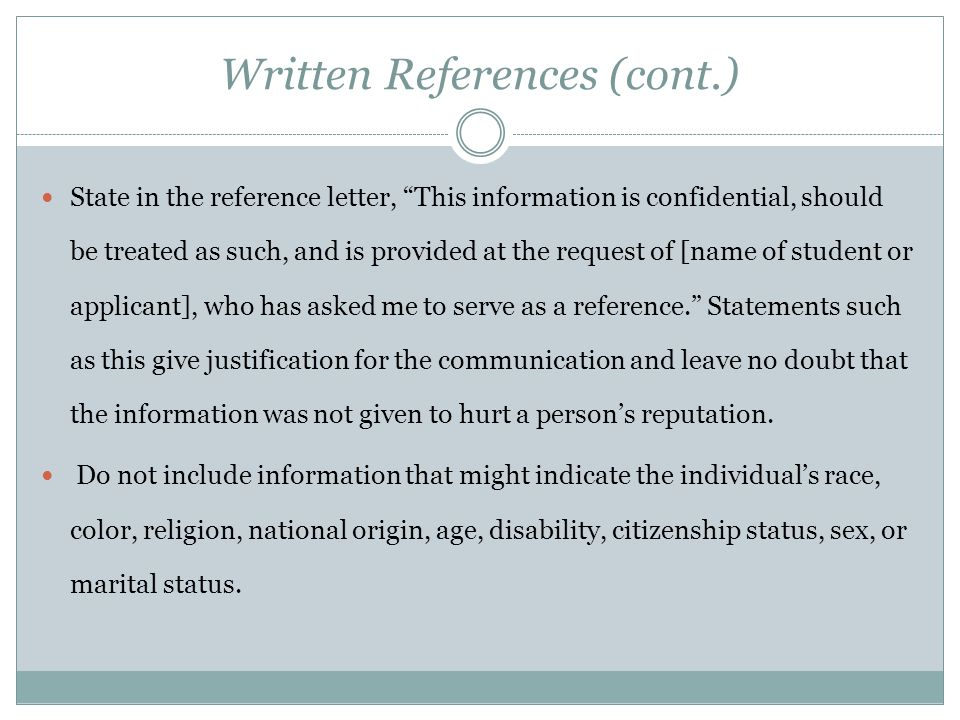 Written References (cont.)