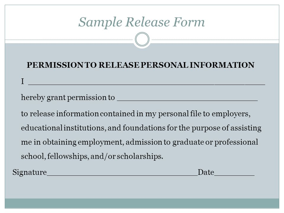 PERMISSION TO RELEASE PERSONAL INFORMATION