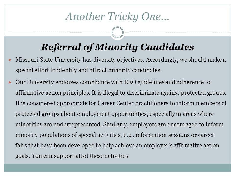 Referral of Minority Candidates