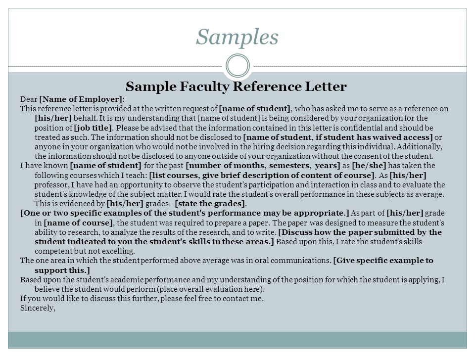 Sample Faculty Reference Letter
