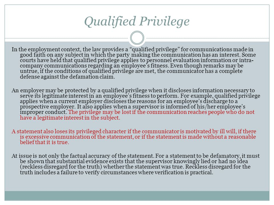 Qualified Privilege