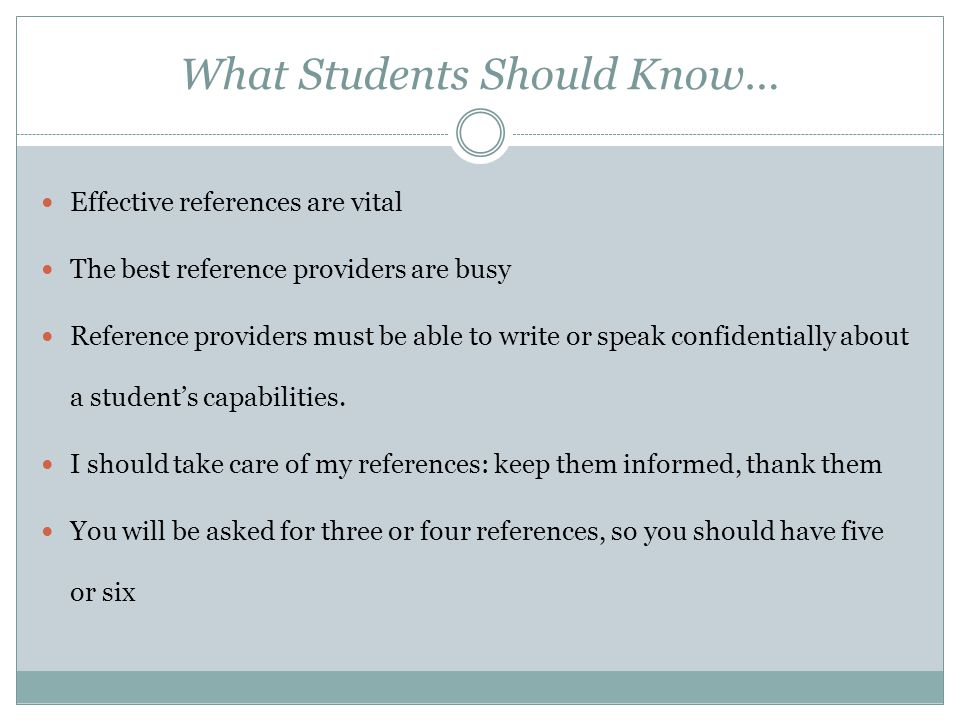 What Students Should Know…