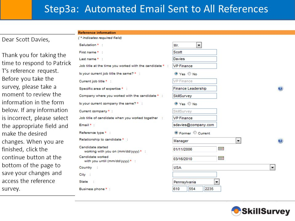 Step3a: Automated Email Sent to All References