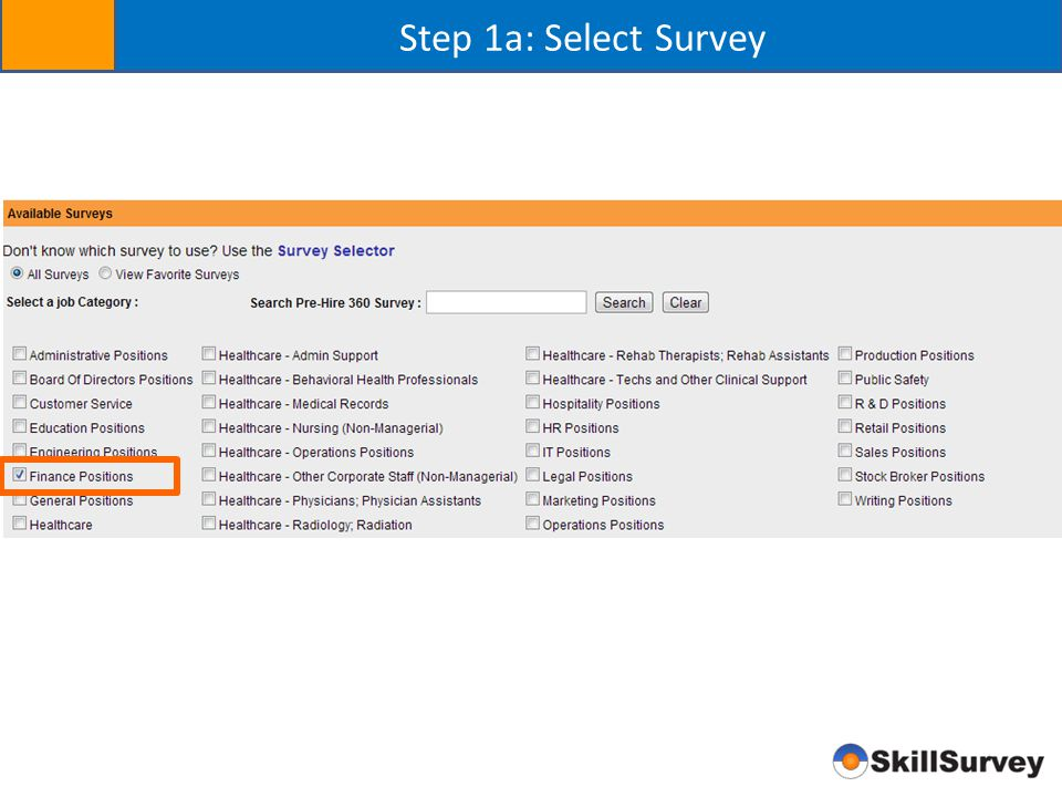 Step 1a: Select Survey