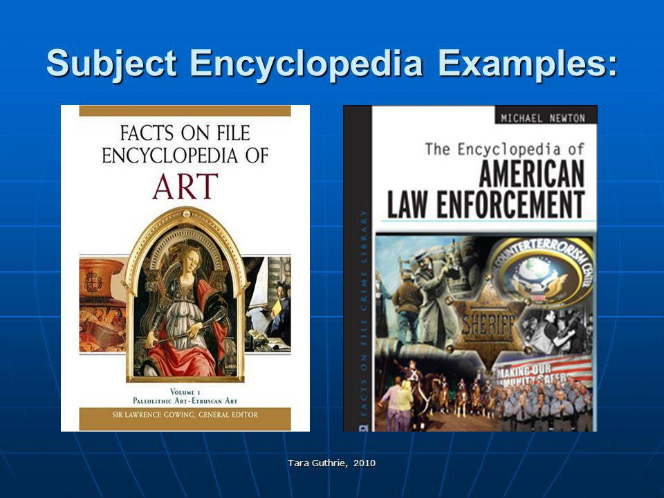 Subject Encyclopedia Examples: