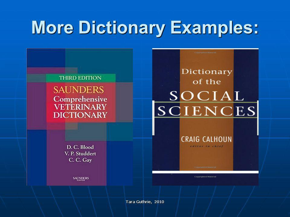 More Dictionary Examples:
