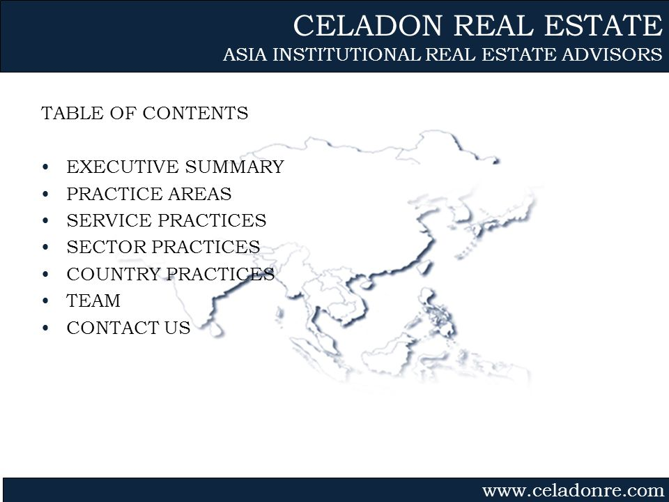 CELADON REAL ESTATE ASIA INSTITUTIONAL REAL ESTATE ADVISORS