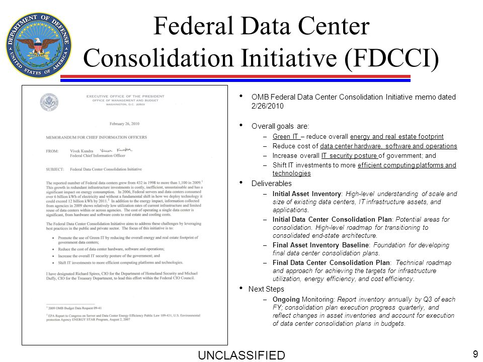 Federal Data Center Consolidation Initiative (FDCCI)