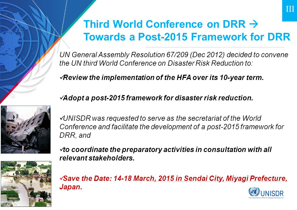 Third World Conference on DRR  Towards a Post-2015 Framework for DRR