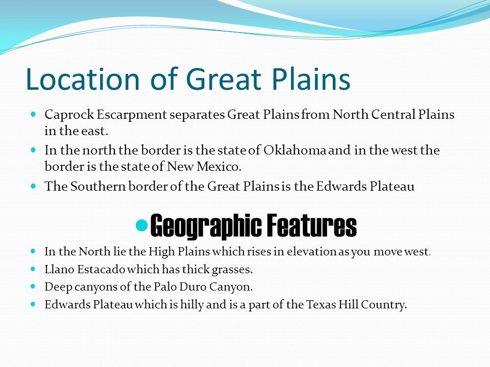 Location of Great Plains