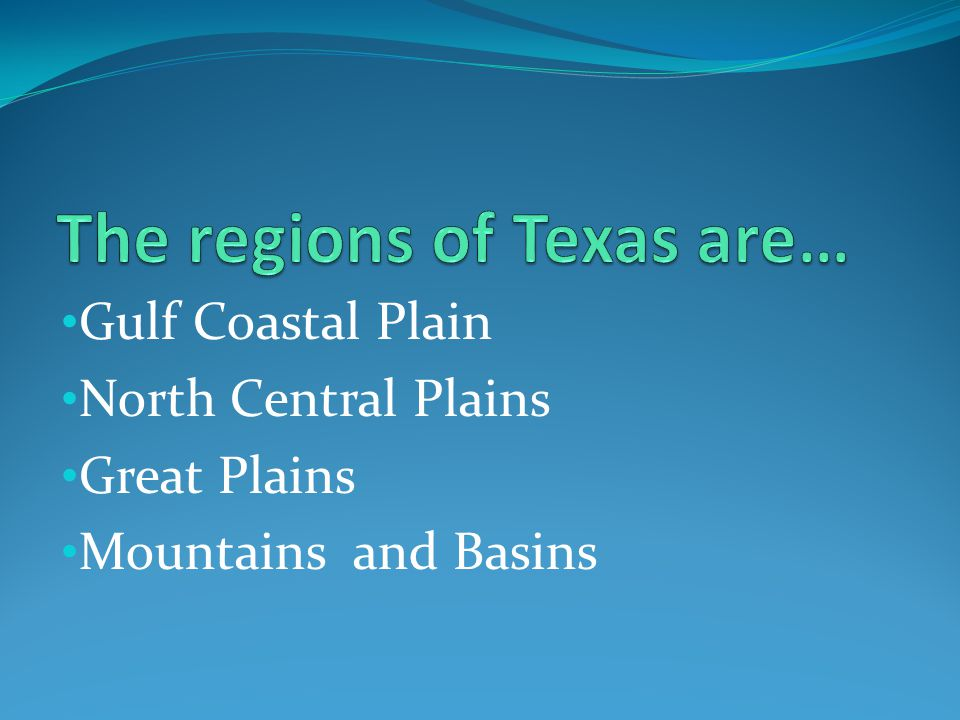 The regions of Texas are…