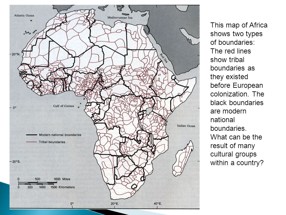 This map of Africa shows two types of boundaries: