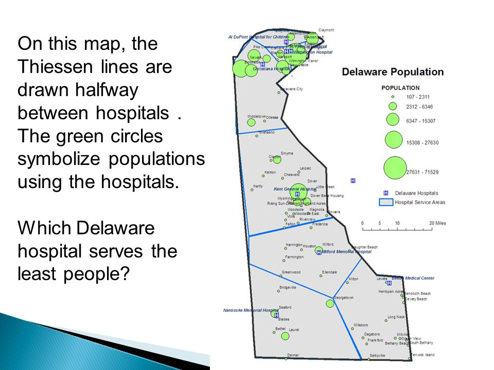 On this map, the Thiessen lines are drawn halfway between hospitals .