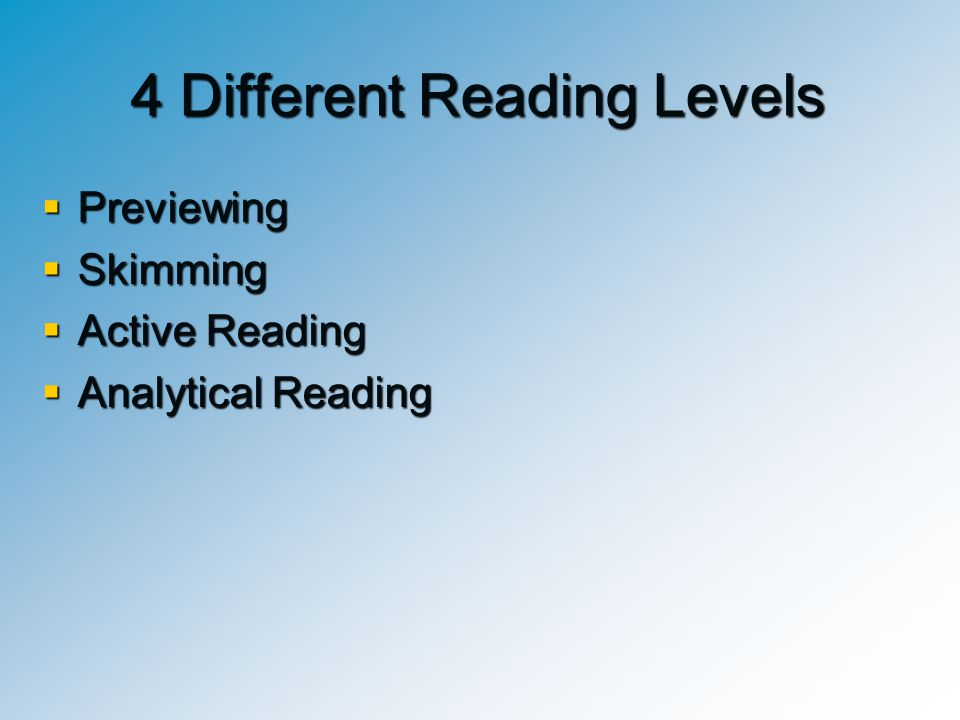 4 Different Reading Levels