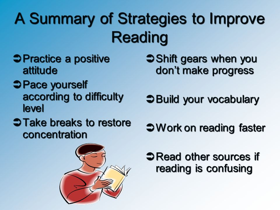A Summary of Strategies to Improve Reading