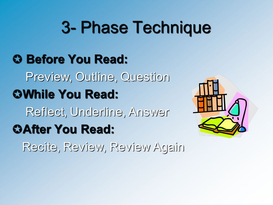 3- Phase Technique Before You Read: Preview, Outline, Question
