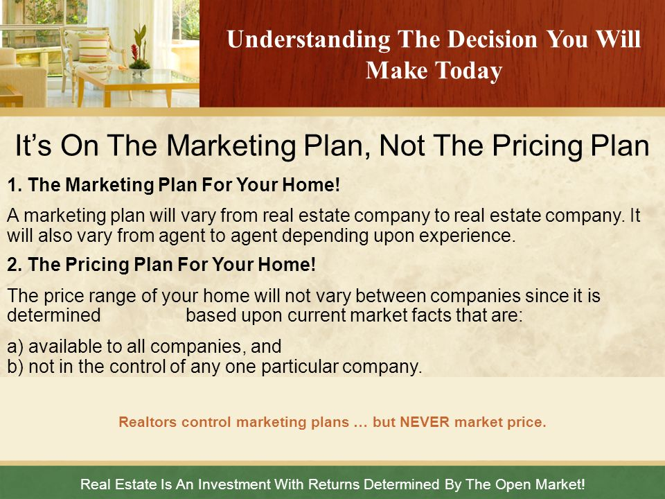 It's On The Marketing Plan, Not The Pricing Plan