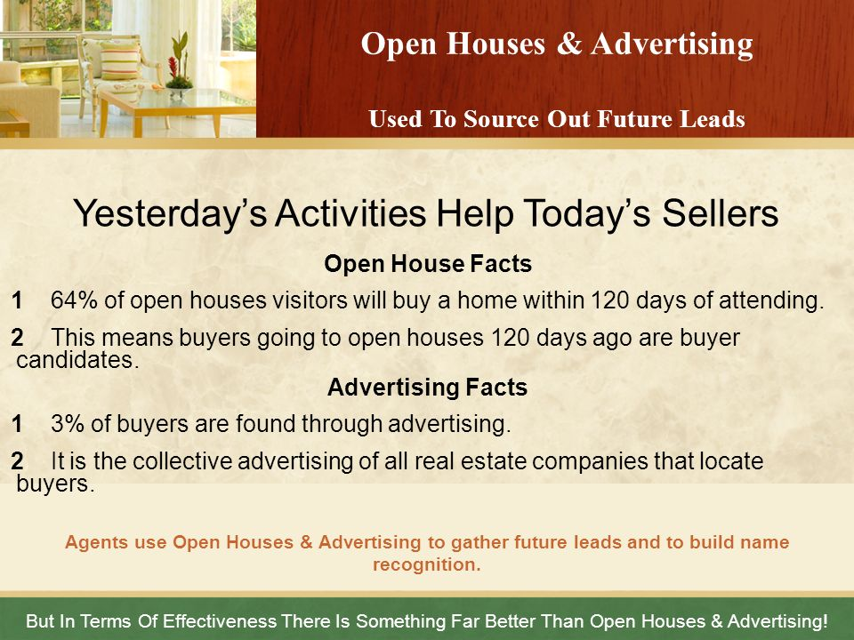 Open Houses & Advertising Used To Source Out Future Leads