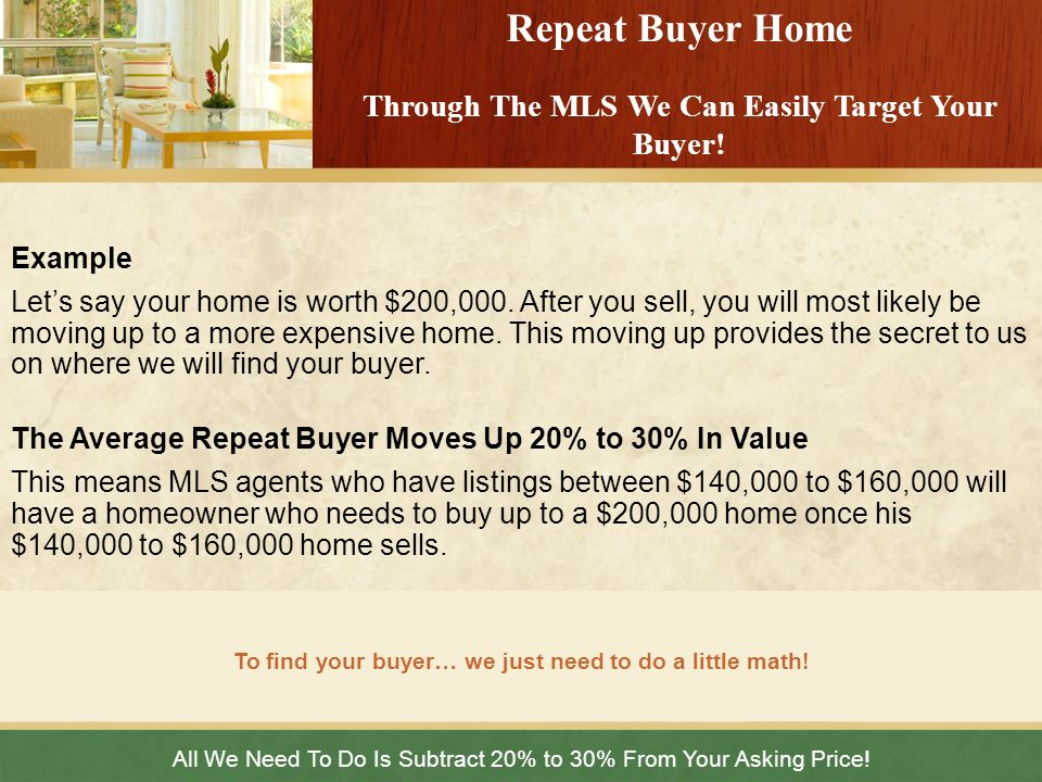 Repeat Buyer Home Through The MLS We Can Easily Target Your Buyer!
