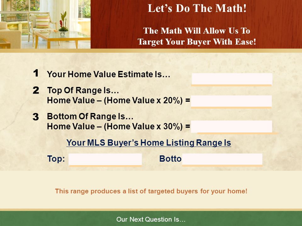 Let's Do The Math! The Math Will Allow Us To Target Your Buyer With Ease!