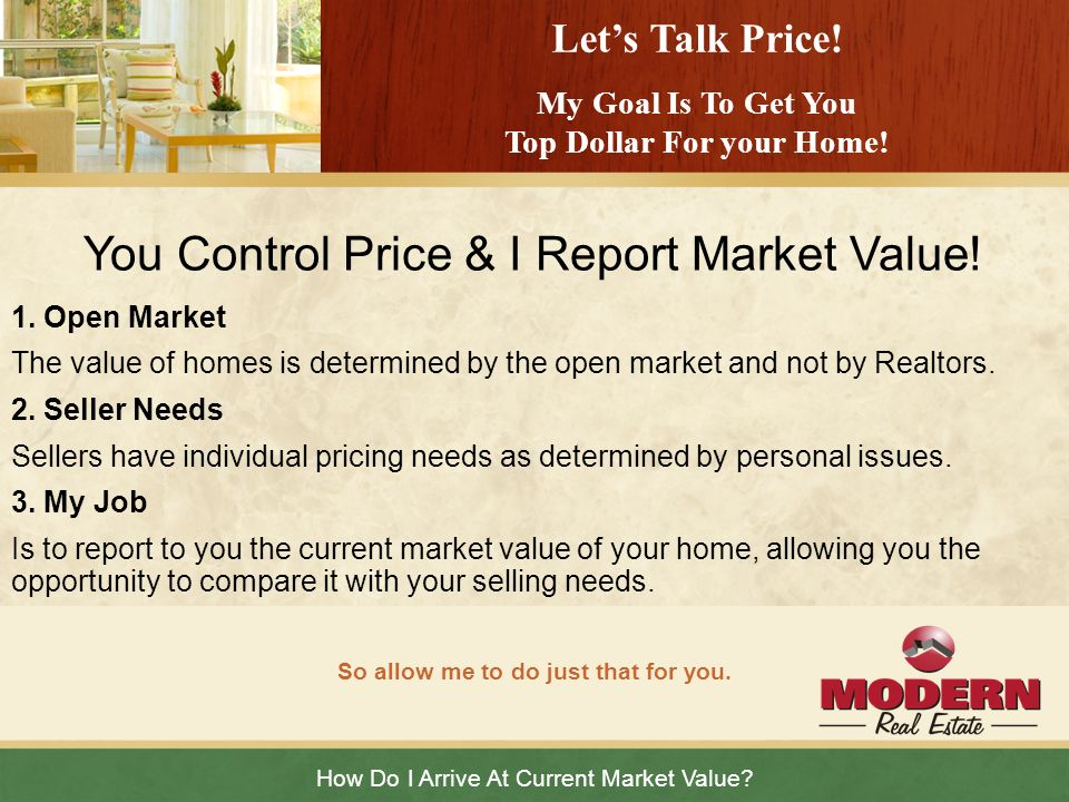 You Control Price & I Report Market Value!
