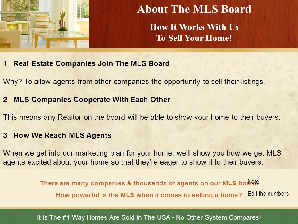 About The MLS Board How It Works With Us To Sell Your Home!