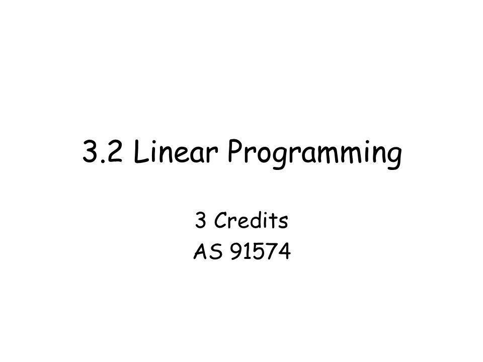 3.2 Linear Programming 3 Credits AS 91574