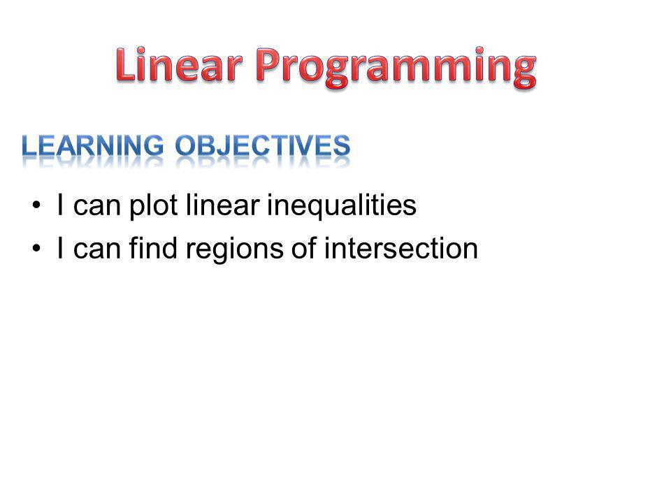Linear Programming I can plot linear inequalities