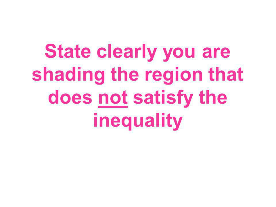 State clearly you are shading the region that does not satisfy the inequality