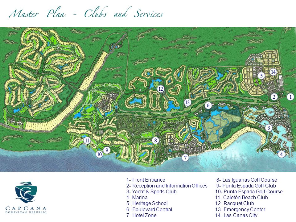 1- Front Entrance 2- Reception and Information Offices. 3- Yacht & Sports Club 4- Marina 5- Heritage School.