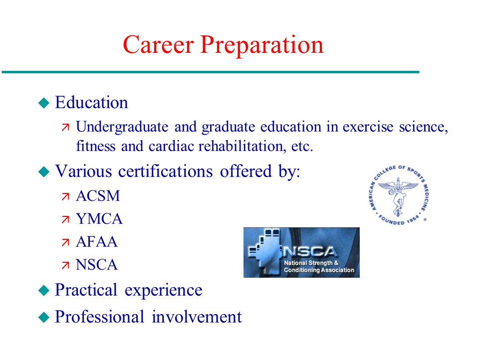 Career Preparation Education Various certifications offered by: