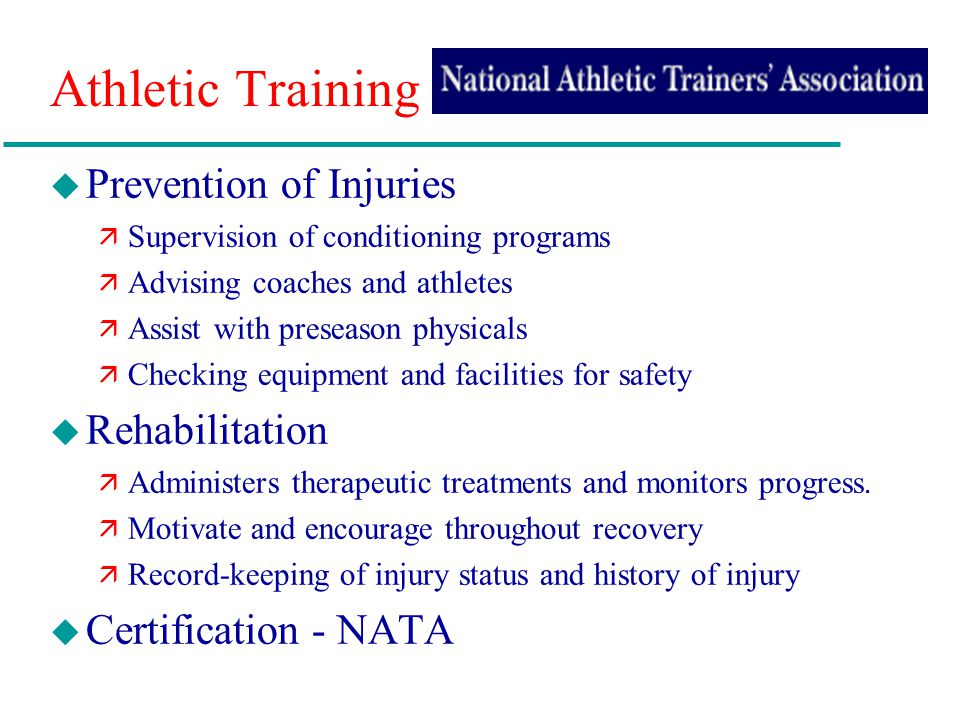 Athletic Training Prevention of Injuries Rehabilitation