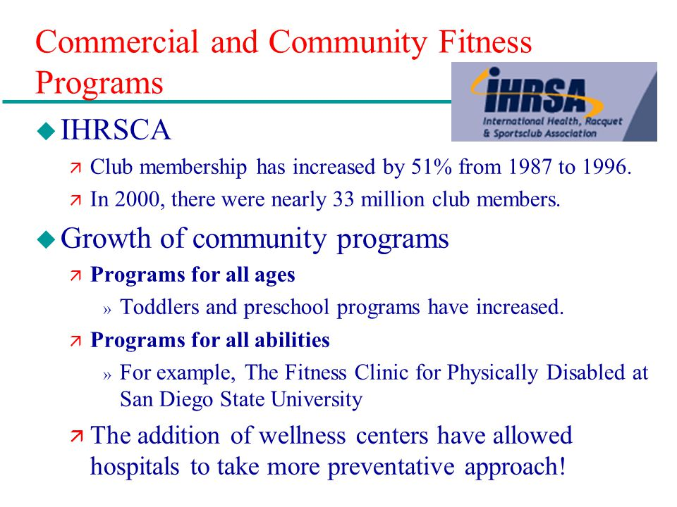 Commercial and Community Fitness Programs