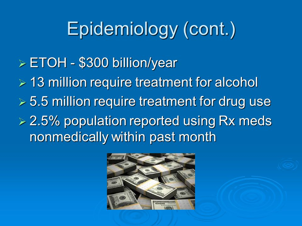 Epidemiology (cont.) ETOH - $300 billion/year