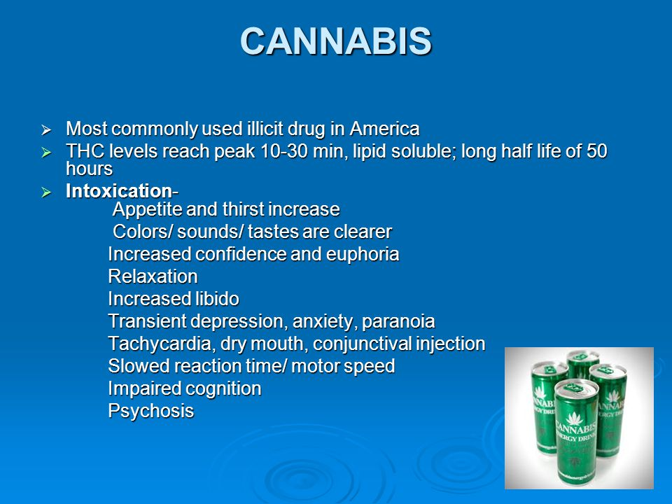 CANNABIS Most commonly used illicit drug in America