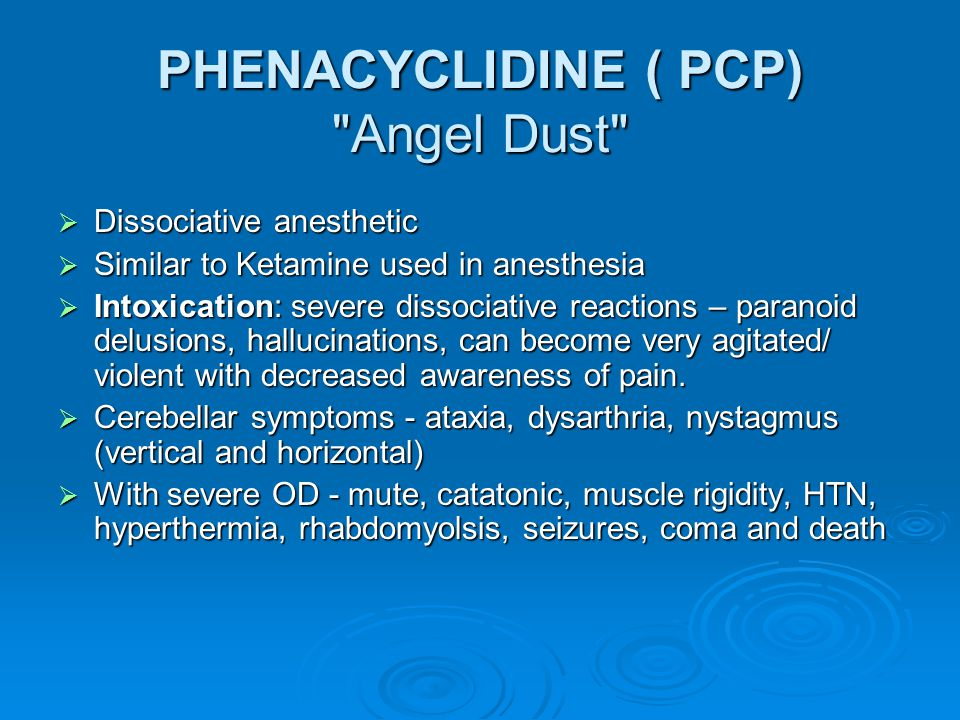 PHENACYCLIDINE ( PCP) Angel Dust