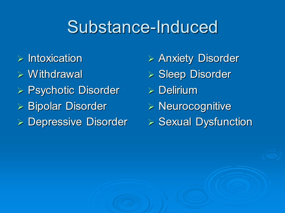 Substance-Induced Intoxication Withdrawal Psychotic Disorder