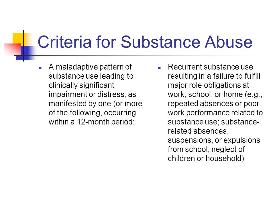 Criteria for Substance Abuse