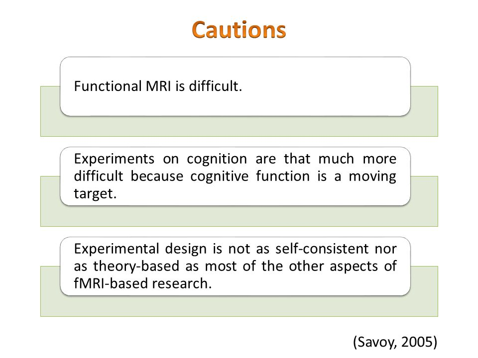 Cautions Functional MRI is difficult.