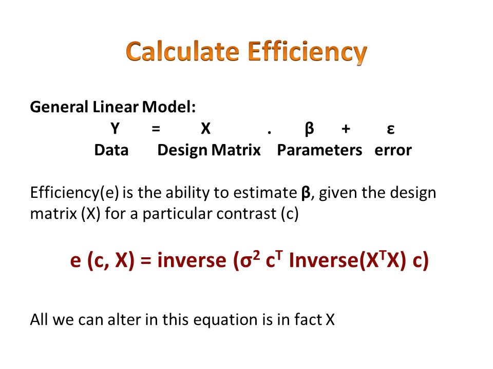e (c, X) = inverse (σ2 cT Inverse(XTX) c)