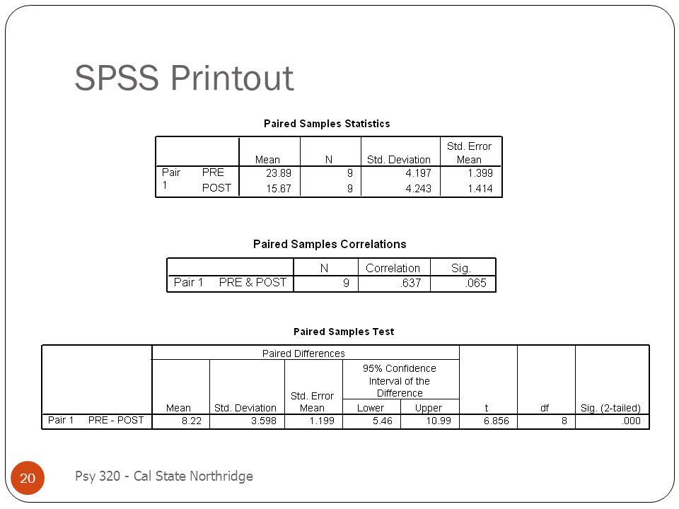 SPSS Printout Psy 320 - Cal State Northridge